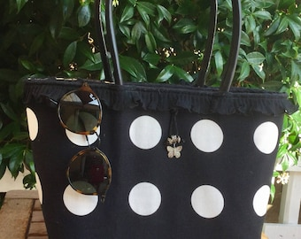Black and white basket with polka dots