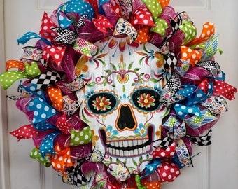 Day of the Dead Wreath, Dia de Los Muertos Wreath, Skeleton Wreath, Skeleton Door Hanger, Day of the Dead Door Hanger, Dia De Muertos