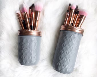 grey mason jar grey and rose gold makeup brush holder makeup storage