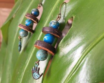 Gaia droplets earrings, earthy, gypsy