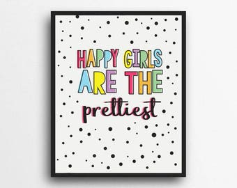 Happy Girls Are The Prettiest | Rainbow Print, Rainbow Decor | Girls room decor, Girls nursery decor | Digital Download