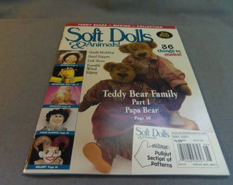 Soft Dolls and Animals, Magazine Back Issue, May 2001, Papa Teddy Bear, Marigold, Princess Maiden Doll