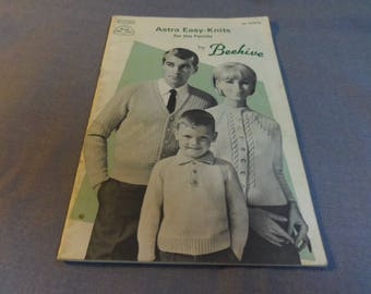 Knitting Patterns, Astra Easy Knits for the Family by Beehive, Book 105, 1960s Sweaters, Cardigans, Pullovers