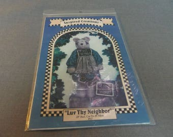 "Bear Doll with Clothes, 28"" Tall, Cat Pin and Pillow, Luv Thy Neighbor by Inspired Creations, 1995 Not Suitable for Young Children"