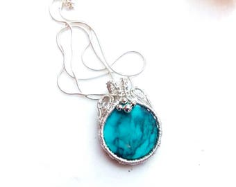 turquoise pendant-wire wrap-silver wrap-wire weave jewelry-handmade pendant-artisan jewelry-silver necklace-Melissa Wood Jewelry-boho