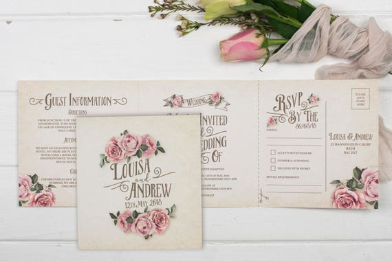 Rustic Wedding Invitation - Double-Folded Ivory Rustic Rose