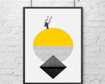 SCANDI GEOMETRIC mountains abstract art print, monochrome mountains, scandinavian art hygge home home posters pictures
