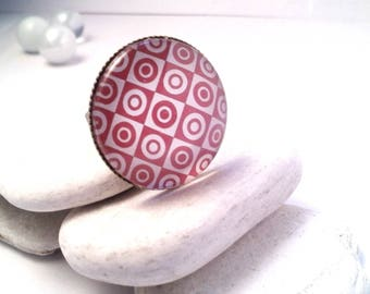 Geometry red Cabochon ring