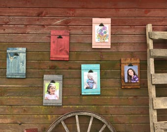 rustic wall clip frame picture display wooden picture frame rustic decor farmhouse - Window Clip Frame