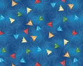 Paper Airplanes in Blue Cotton Fabric from the Ready for Takeoff Collection by Renae Lindgren for Wilmington Prints, Airplane, Airport