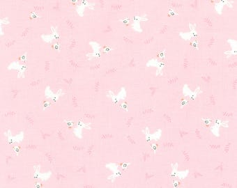 """End of Bolt, Bunny in Pink Blush from the Storybook Forest Collection from Timeless Treasures, Bunnies, Baby Fabric, Nursery Fabric 13""""x44"""""""