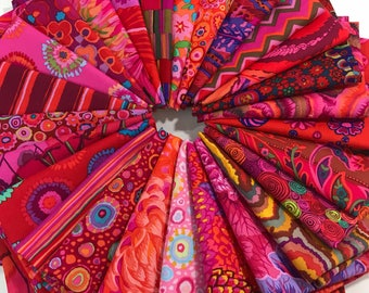 Bundle of 26 Red and Pink Kaffe Fassett Fabrics, Choose Your Bundle Size, Kaffe Fassett Collective, Red Kaffe Fassett