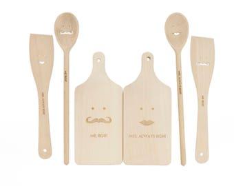 Wooden kitchen utensils SET - Cooking utensils - Mr and Mrs gift - Wedding gift - Wedding shower gift - Rustic kitchen tools - Kitchen decor