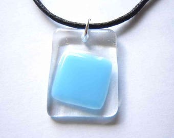 Geometric Pendant, Abstract Necklace, Geometric Square Necklace, Fused Glass Pendant, Geometric Jewelry, Blue Glass Pendant, Glass Jewellery