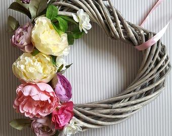 Heart Shaped Wreath, Wedding Decor, Home Decor ,Summer flowers,Wreath ,Heart