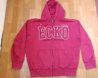 ECKO UNLTD hoodie, red vintage hip hop sweatshirt, old school sweat shirt 90s hip-hop clothing, 1990s, og, gangsta rap, size M Medium