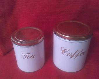 Vintage Canister Set , Copper Lids,Coffee, Tea, white with copper lids, Decoware