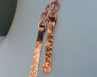 Simple hammered copper dangle earrings with antique patina