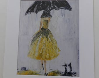 Gift for Her, Yellow Dress Print, Walking in the Rain, Lady in Yellow, Umbrella Print, Mother's Day Gift, Woman's Bedroom Decor, Hallway art