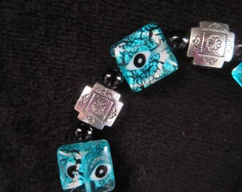 """Bracelet """"lagoon"""" with onyx and silver foil millefiori beads"""