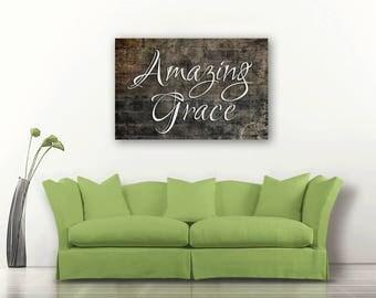 Amazing Grace, Amazing Grace on canvas, Amazing Grace art, Christian wall art, Christian Hymn canvas art
