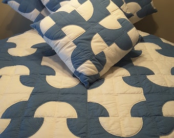 Vintage Handmade Embroidered 86 by 82 Inch Blue and Off White Uniquely Patterned Quilt or Duvet Cover / Coverlet and 4 accent pillows