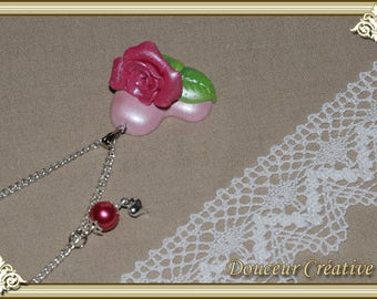 Necklace Pink Pearl Heart 103003