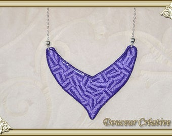 Purple necklace has small tiles 103051