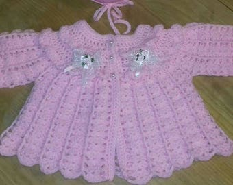 handmade matinee and bonnet set