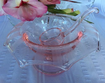 Antique Art Deco pink Depression glass mayonnaise dish with ladle nice etching