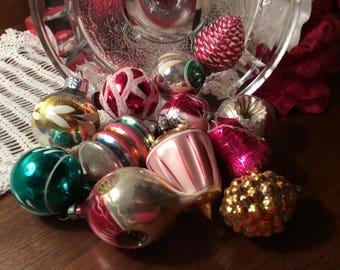 Nice mix box of small mercury glass Christmas tree ornaments