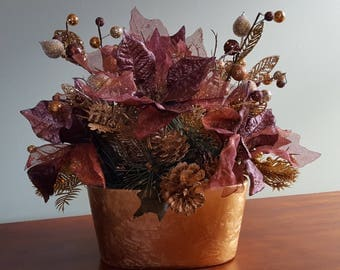 Christmas Arrangement, Christmas Centerpiece, Holiday Arrangement, Copper Poinsettia Arrangement,. Non traditional Christmas arrangement