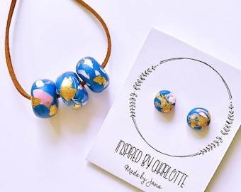 handmade not so even polymer clay beads necklace and polymer clay earrings set