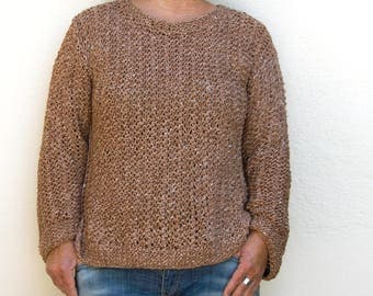 Cotton/silk, brown women's sweater 36-42