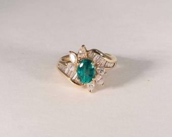 4.5 Gram 14K Yellow Gold Emerald and Diamond Ring , size 3.5