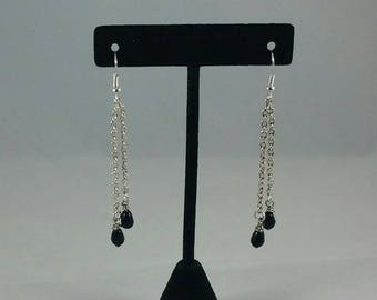 Black beads on chains