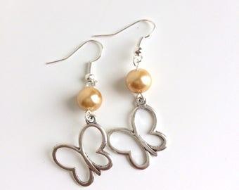 butterflies and golden yellow pearl earrings