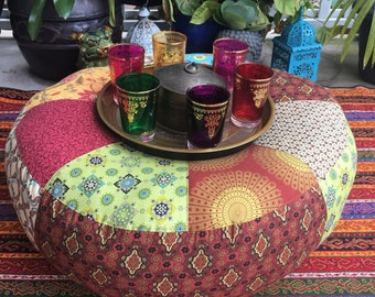 Unfilled 24 Inch Diameter Moroccan Style Pouffe Cover with Tuffet, Made in Australia, Bohemian Floor Cushion, Meditation Cushion, Boho, Pouf