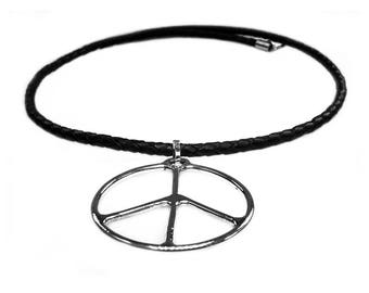 Peace sign necklace-Sterling Silver-tribal series 545