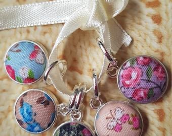 5 Knitting stitch markers. Fabric cabochons