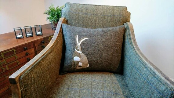 Hand Crafted Harris Tweed Hare Design Cushion Cover