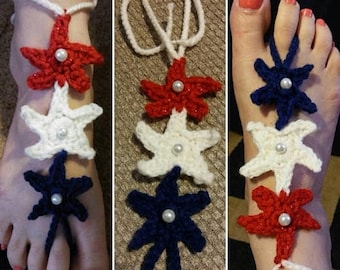 On Sale 20% 4th July Red white blue 3 Star Crochet barefoot sandals