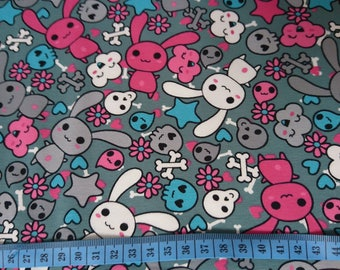 Bunnies with skulls in grey cotton jersey