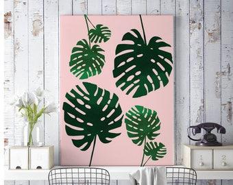 Printable Art, Home Decor, Scandinavian Modern, Monstera leaf, Prints, Tropical, Art Prints, Bedroom Print, Printable, Art Print, Pink