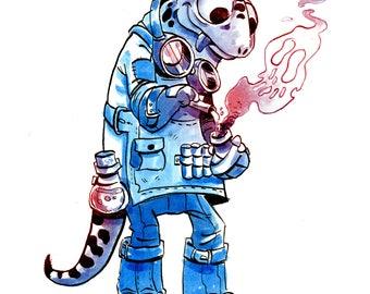 Watercolor, digital art print, salamander, alchimist, fantasy art, geek wall art, kid room, quirky illustration, gift for gamer, lizard