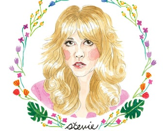 Stevie Nicks, Fleetwood Mac, Watercolor Illustration, Monstera and flowers 5x7 Print