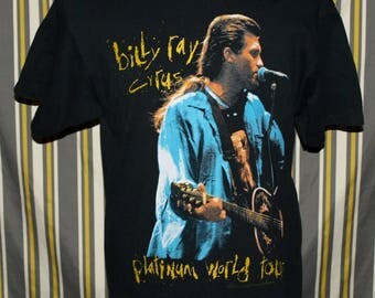 Killer Vintage Billy Ray Cyrus Concert Tour Graphic T-shirt Miley Hipster Size L