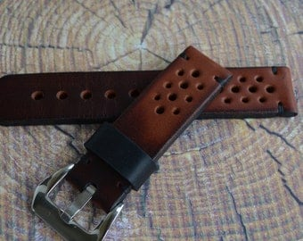 Thick Rally racing tapered Tan cowhide leather watch strap/ mens brown wrist watch band/ 20mm 21mm 22mm 24mm