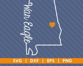 Auburn Tigers War Eagle Alabama State Outline SVG DXF Silhouette Cameo Cricut Cut File