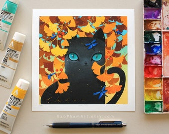 Ginkgo Kitty - Limited Edition Print